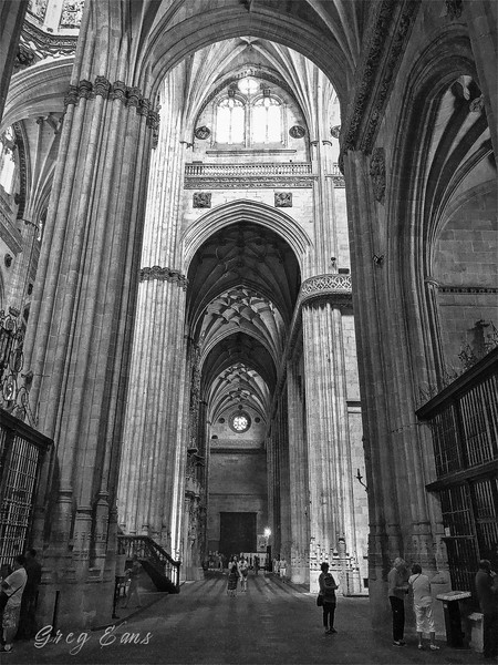 Angie at Catedral Nueva, Salamanca, Spain. It was constructed between the 16th and 18th centuries in two styles: late Gothic and Baroque.