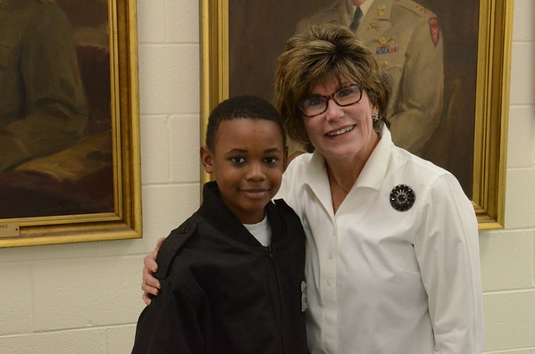 Ms Karen Bowles pictured with Cadet Matthew Moore