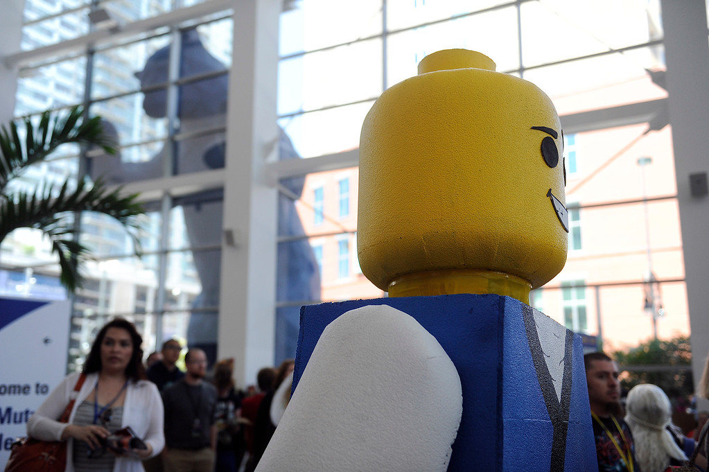 . DENVER, CO - JUNE 1: An oversized Lego Man makes his way across the lobby of the Colorado Convention Center during Denver Comic Con on June 1, 2013 in Denver, Colorado. (Photo by Seth McConnell/The Denver Post)