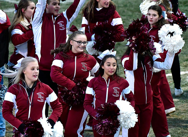11/23/2018 Mike Orazzi | Staff Bristol Central High School cheerleaders during the Battle for the Bell at Muzzy Field Friday. Central won 24-19.