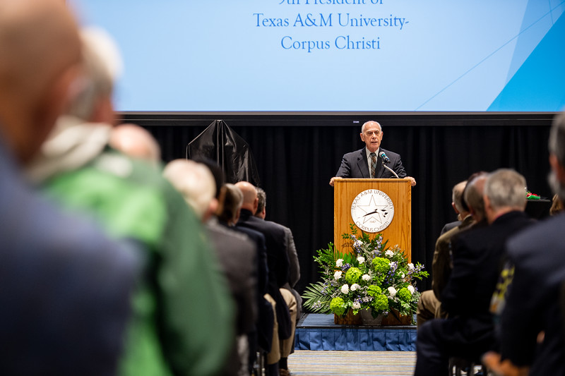 President Emeritus Dr. Robert Furgason speaks to attendees during TAMU-CC's Furgason Engineering Building naming ceremony on December 7, 2018 at Texas A&M University-Corpus Christi.