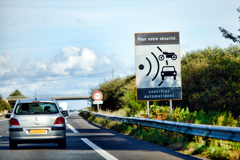 Cars on the N165 (E60) Road, Brittany, France