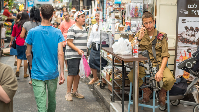 Jerusalem MarketIDF Visitor