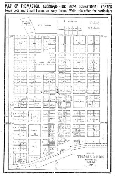 Map of Thomaston, Alabama - The New Educational Center.