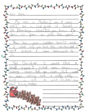 Mrs. Tolbert's 2nd Grade Letters to Santa, 12/16/2019