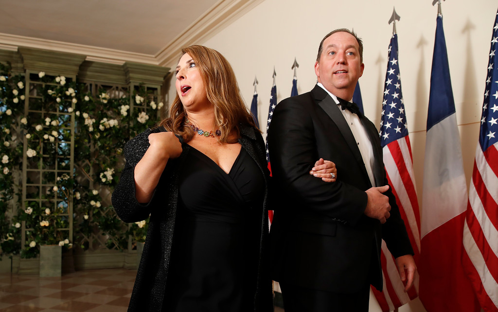 . Republican National Committee Chair Ronna Romney McDaniel and Patrick McDaniel arrive for a State Dinner with French President Emmanuel Macron and President Donald Trump at the White House, Tuesday, April 24, 2018, in Washington. (AP Photo/Alex Brandon)