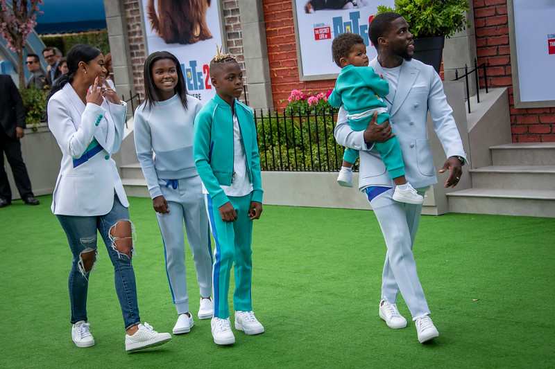 WESTWOOD, CALIFORNIA - JUNE 02: Eniko Parrish, Heaven Hart, Hendrix Hart, Kenzo Kash Hart, and Kevin Hart attend the Premiere of Universal Pictures' 'The Secret Life Of Pets 2' at Regency Village Theatre on Sunday, June 02, 2019 in Westwood, California. (Photo by Tom Sorensen/Moovieboy Pictures)