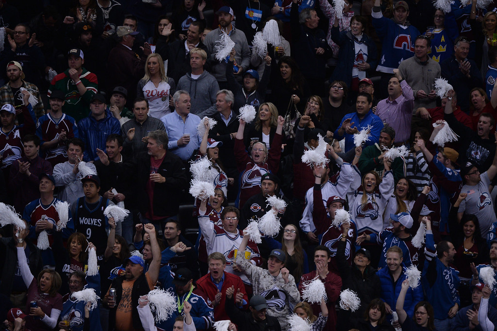 . Avalanche fans react to a goal by Nick Holden (2) of the Colorado Avalanche during the first period of action.  (Photo by Karl Gehring/The Denver Post)