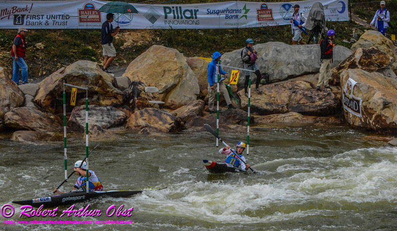 """""""Gold medalists and World Champions Kayak Single WOMEN or K-1W TEAM France BOUZIDI Carole and NEWMAN Nouria and FER Emilie FINAL runs - Final Rank 1st out of 13 K-1W Teams - on 21 SEPT 2014 at the 2014 ICF 'Deep Creek 'World Championships at the Adventure Sports Center International site near Deep Creek Lake and McHenry MD USA"""" (USA MD McHenry; Obst Photos Nikon D800 Adventures in Paddlesport Competition Images)"""