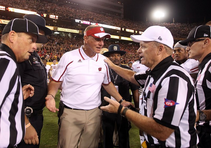 ". <p>2. WISCONSIN-ARIZONA STATE GAME OFFICIALS <p>They�ll worry about their Pac 12 suspensions after they cash in their bets on the Sun Devils. (unranked) <p><b><a href=\'http://www.twincities.com/sports/ci_24112543/wisconsin-badgers-barry-alvarez-still-livid-about-blown\' target=""_blank\""> HUH?</a></b> <p>    (Christian Petersen/Getty Images)"