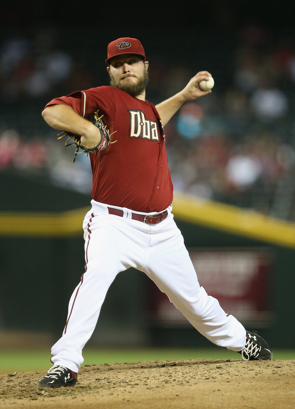 . Starting pitcher Wade Miley #36 of the Arizona Diamondbacks pitches against the Colorado Rockies during the MLB game at Chase Field on August 10, 2014 in Phoenix, Arizona.  (Photo by Christian Petersen/Getty Images)