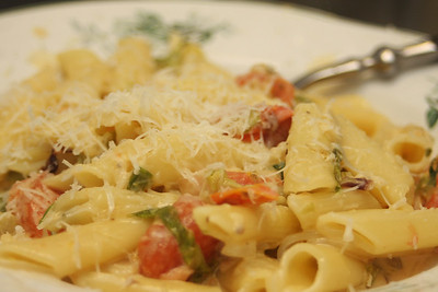 281212  Penne with smoked salmon, cream and wilted greens