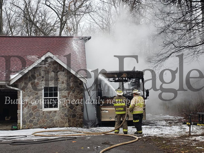 JEFFERSON TWP — A fire on the 200 block of Cobham Lane destroyed a parked recreational vehicle Saturday afternoon, but no one was hurt. Feb. 23, 2019 Tanner Cole/Butler Eagle