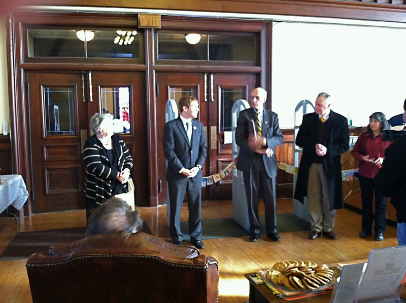 Speeches and Ribbon-cutting for the Re-Opening of the Library, January 23, 2012.