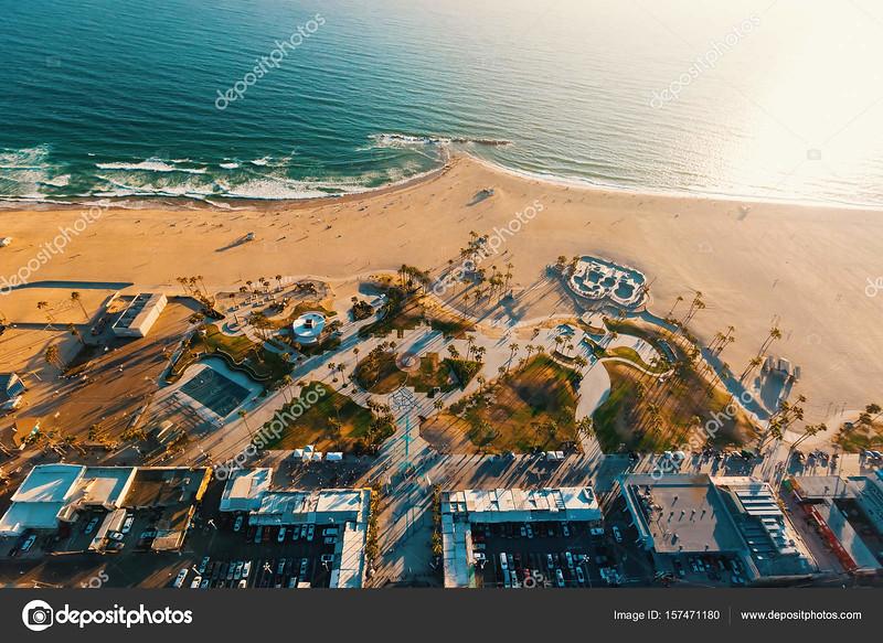 Aerial view of Venice Beach, CA