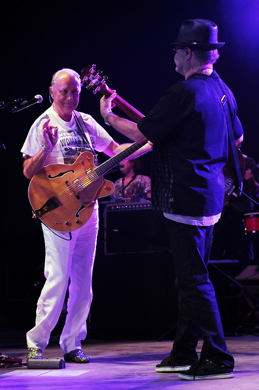 . Michael Nesmith and Micky Dolenz of The Monkees perform during the Mid Summers Night Tour at the Mizner Park Amphitheater in Boca Raton, Florida, in 2013. Nesmith and Dolenz will perform  �The Monkees Present The Mike and Micky Show,� June 16 at Cain Park in Cleveland Heights. For more information, visit cainpark.com/280/The-Monkees.  (Photo by Jeff Daly/Invision/AP)