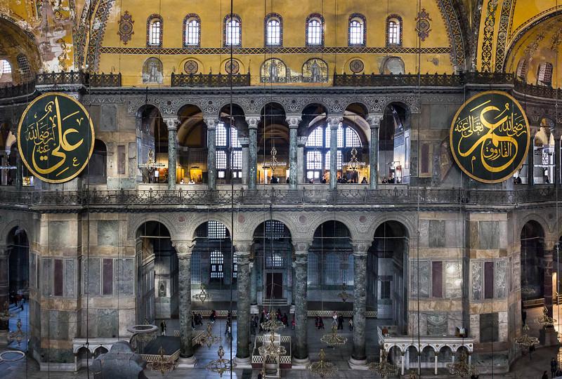 Istanbul, Hagia Sophia: Blick von Südempore auf nördliche Schildwand und Apsis
