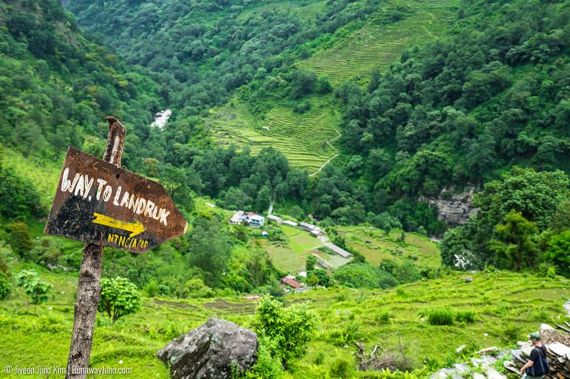 Trail sign on Annapurna Sanctuary