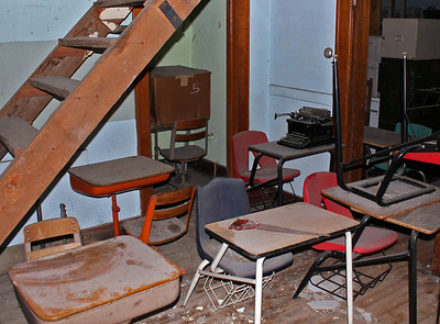 We understand the building is leased for storage, but we still see what appears to be remnants of classroom equipment and supplies.