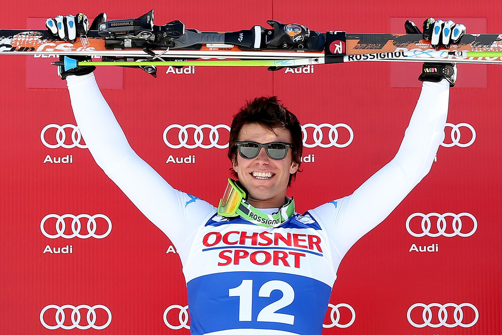 . Matteo Marsaglia #12 of Italy celebrates on the winner\'s podium during the men\'s Super G on the Birds of Prey at the Audi FIS World Cup on December 1, 2012 in Beaver Creek, Colorado.  (Photo by Matthew Stockman/Getty Images)