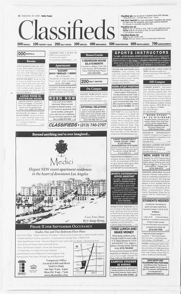 Daily Trojan, Vol. 141, No. 16, September 20, 2000