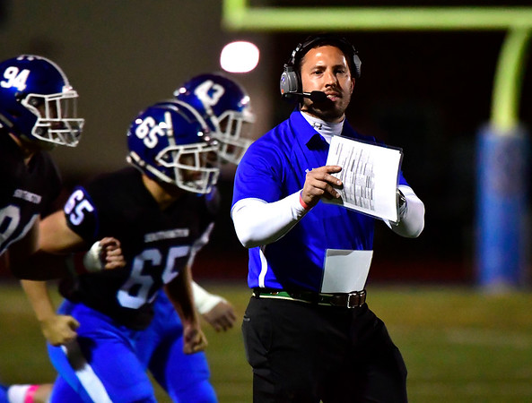 10/11/2019 Mike Orazzi | StaffrSouthingtons Mike Drury during Friday night's football game with Manchester in Southington. r