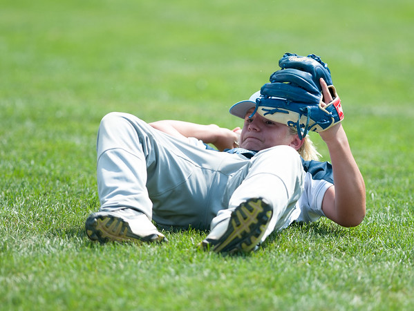 08/06/18 Wesley Bunnell | Staff Rhode Island defeated Vermont 10-0 in a 2018 East Regional Little League game in Bristol on Monday afternoon. Vermont right fielder Kiefer McGrath (8) throws from his back to first base but would not be in time to catch the runner.