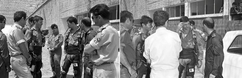 """ב 27/4/1972 בוצעו טיסות """"סולו"""" של מפקד הבסיס, שייקה ברקת, וסגנו סימי (סער), מפקד טייסת תעופה, במסגרת הסבתם להטסת הקורנס. . מתוך האוסף של יוסי יערי."""