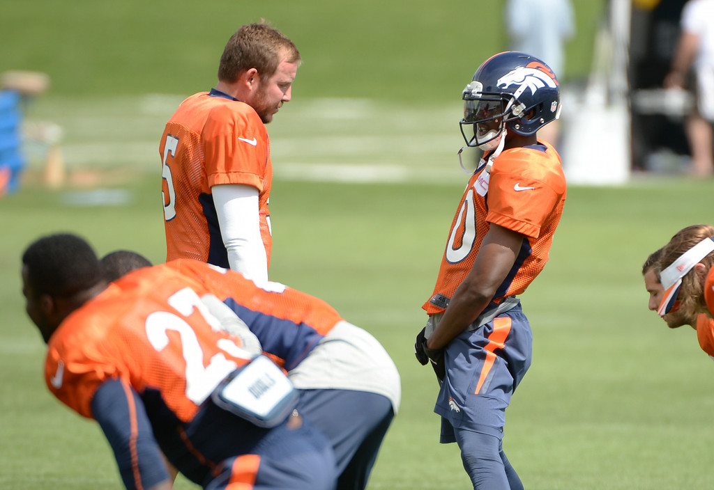 . Matt Prater (5)  talking with Emmanuel Sanders of Denver Broncos (10) during the Denver Broncos 2014 training camp at Dove Valley, Englewood, Colorado, August 01, 2014. (Photo by Hyoung Chang/The Denver Post)