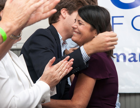 08/14/18 Wesley Bunnell | Staff Democratic Candidate for Connecticut's 5th Congressional District Mary Glassman hugs staff members and supporters after giving her concession speech at her campaign night headquarters at The Kitchen in New Britain on Tuesday night.