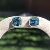 8.41ctw Blue Zircon Asscher Cut Bezel Earrings 0