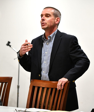 1/9/2020 Mike Orazzi | StaffrDeveloper Joseph Naples during an information meeting held at the Manross Library about a proposed gated high-end multi-family residential project proposed for the Redstone Hill Road area in the city of Bristol.