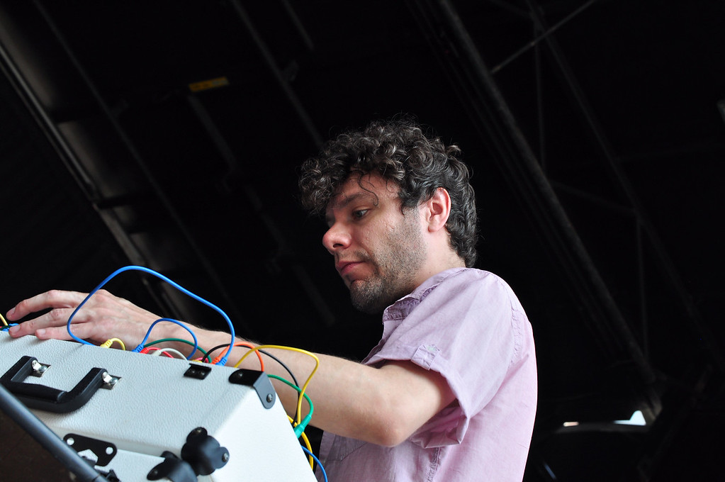 . Jack Guerino/ North Adams Transcript Oliver Chapoy plays electronic music alongside Mikael Jorgensen and Greg O\'Keeffe during the final day of the Solid Sound Festival.