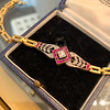 .86ctw Art Deco Ruby and Diamond Link Bracelet 0