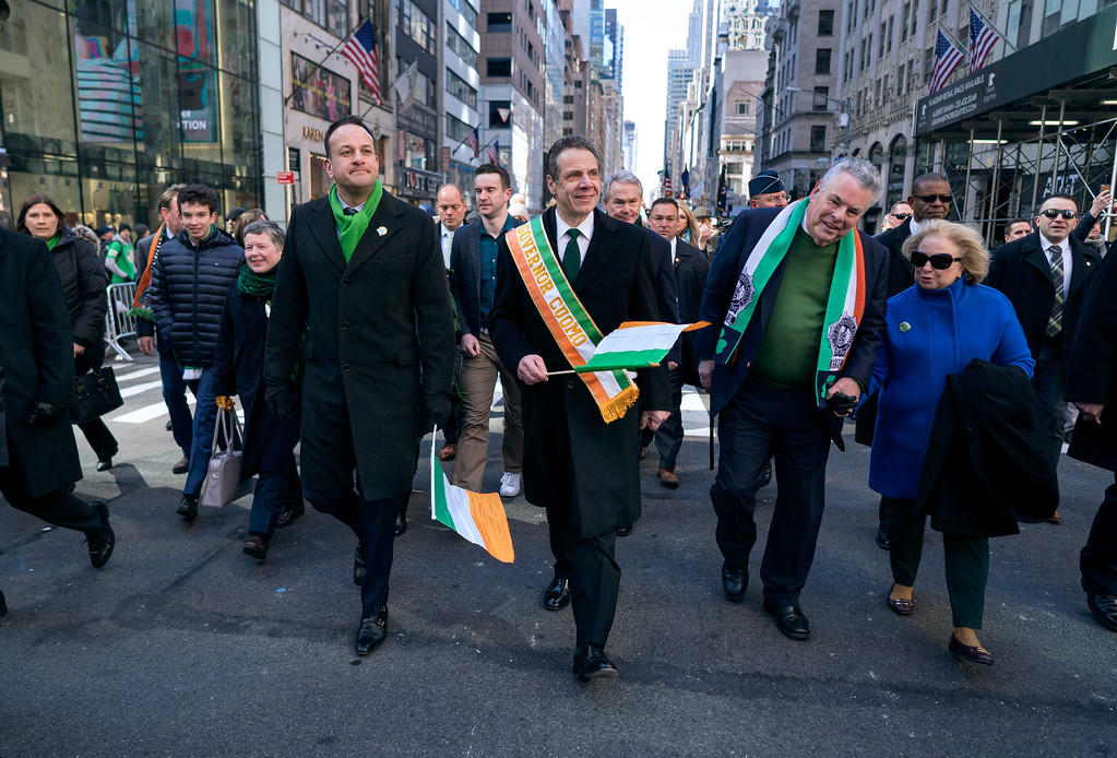 . From center left, Irish Prime Minister Leo Varadkar, New York Democratic Gov. Andrew Cuomo and Rep. Peter King, R-N.Y., walk along Fifth Avenue during the St. Patrick\'s Day parade Saturday, March 17, 2018, in New York.   A big event since the mid-1800s, the parade has been a celebration of Irish culture and of Irish immigrants, who once faced nativist calls for their exclusion from the workforce,  and from the country, when they began arriving in the city in huge numbers during the Irish Famine. (AP Photo/Craig Ruttle)