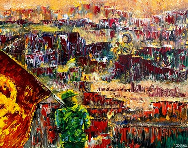 """""""Banners - a journey to prosperity"""" (oil on linen) by Taixiang Zhang"""