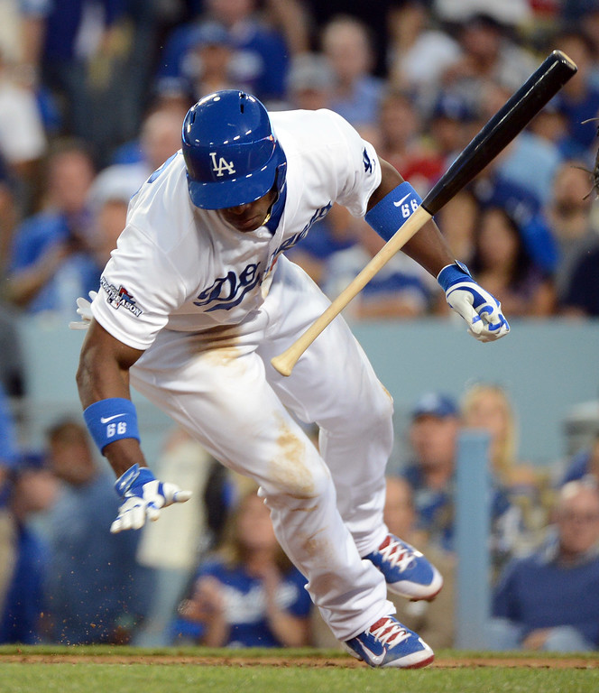 . Los Angeles Dodgers\' Yasiel Puig avoids a pitch during the fourth inning of game 4 inthe NLCS at Dodger Stadium against the St. Louis Cardinals Tuesday, October 15, 2013. (Photo by David Crane/Los Angeles Daily News)