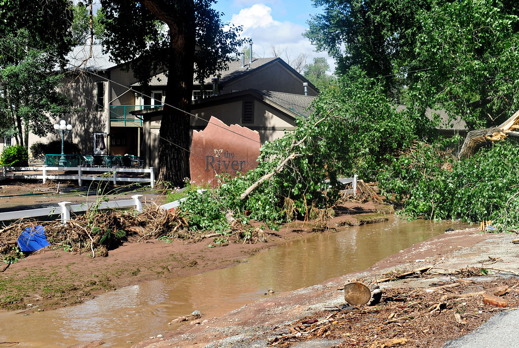. Flood damage along at The River church in Lyons Friday, Sept. 13, 2013. (Greg Lindstrom/Times-Call)