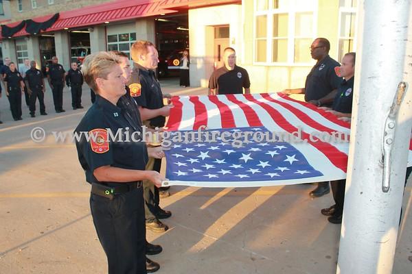 9/14/15 - Lansing Firefighter Dennis Rodeman flag lowering ceremonies
