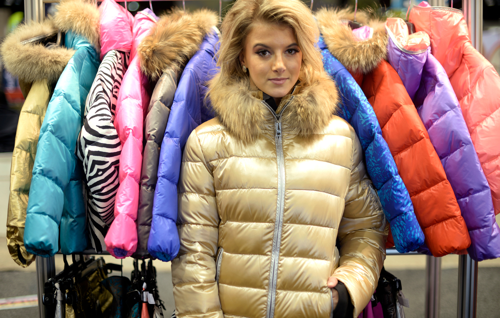 . A model in a jacket Skea during a visit to the Snowsports Industries America  Snow Show at the Colorado Convention Center in Denver on Thursday, January 30, 2014. (Denver Post Photo by Cyrus McCrimmon)