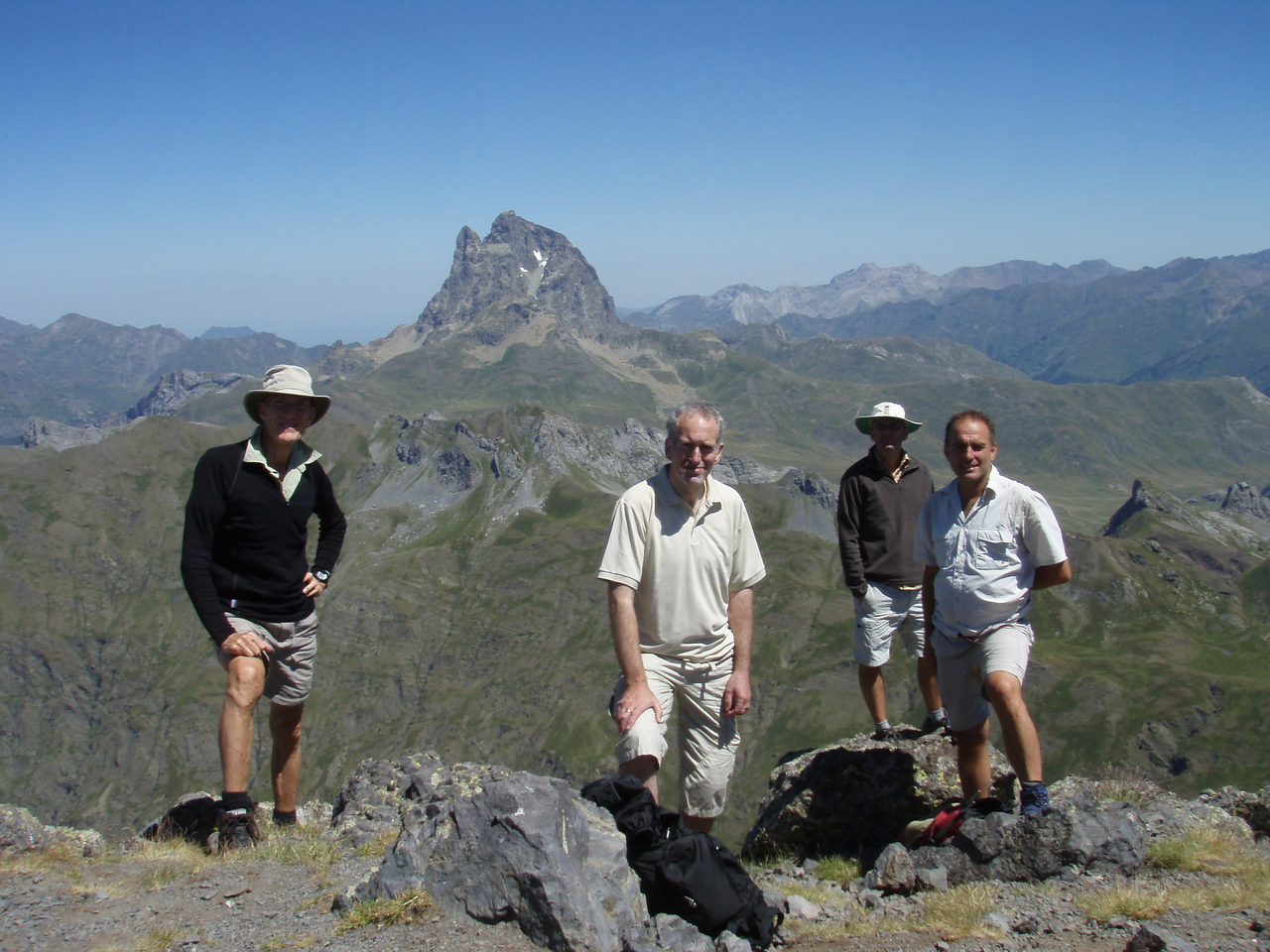 Vic, Edward, Gareth and Alfred on the summit of Pico de Anayet with Peña Blanca in the background
