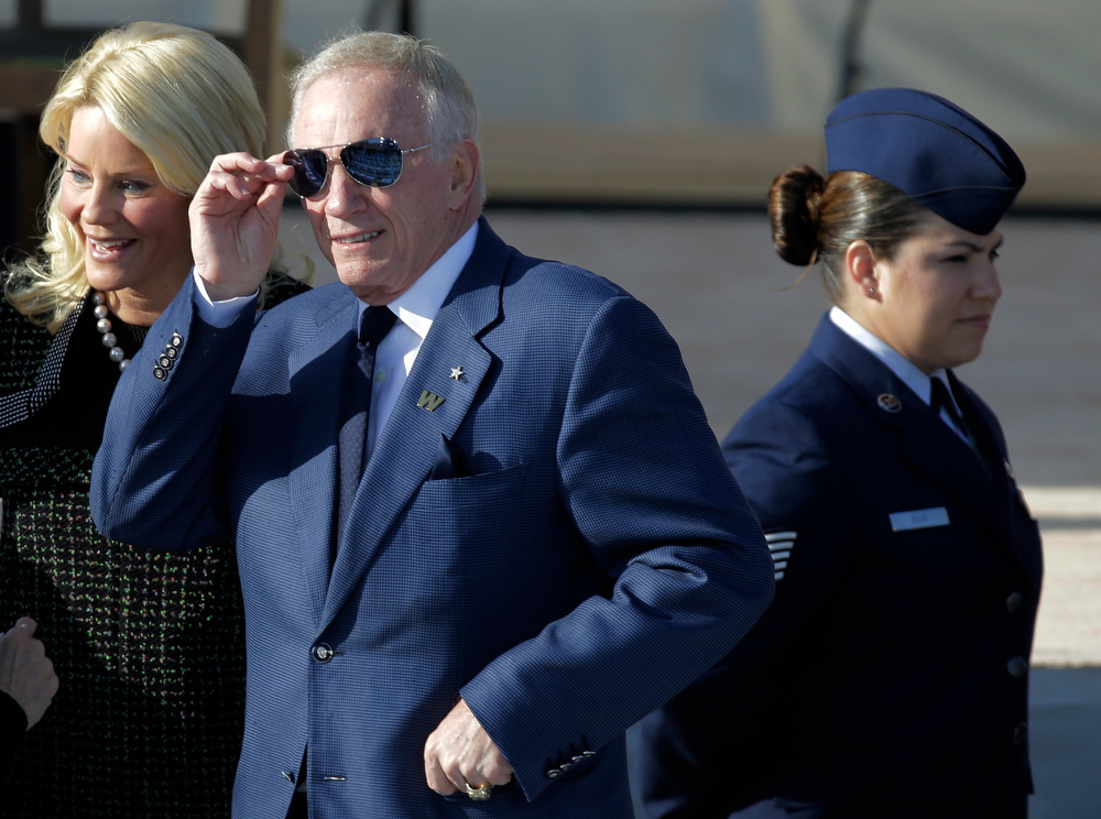 Description of . Dallas Cowboys owner and general manager Jerry Jones during the dedication of the George W. Bush Presidential Center Thursday, April 25, 2013, in Dallas. (AP Photo/David J. Phillip)