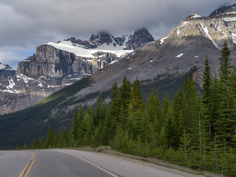 Highway along mountain range, Icefields Parkway, Jasper, Alberta, Canada