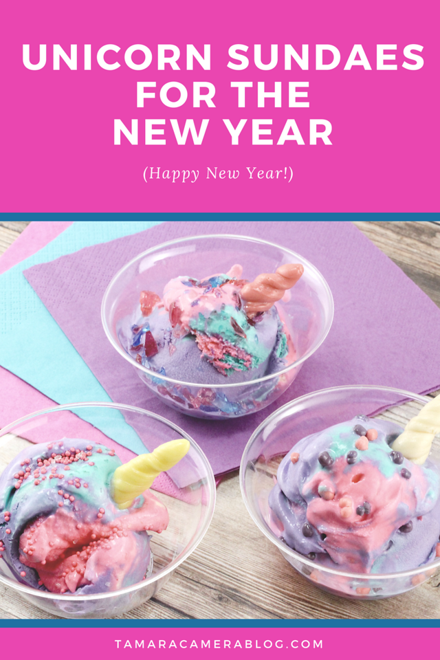 Whether you're throwing a unicorn party, or you just want something festive, fun, and colorful for the new year, these Unicorn Sundaes are sure to please party guests of all ages! #recipe #unicornparty