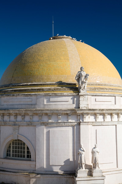View of the dome of Cadiz Cathedral from the west bell tower. Spain