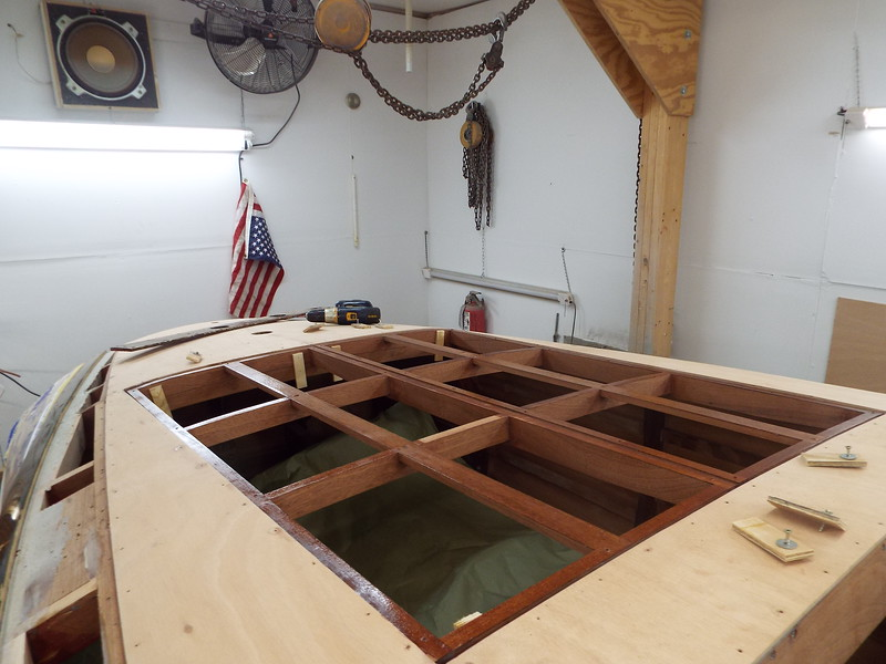 New engine hatch cover frames epoxied and ready for the plywood skins.