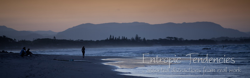 Sunset on the beach at Byron Bay
