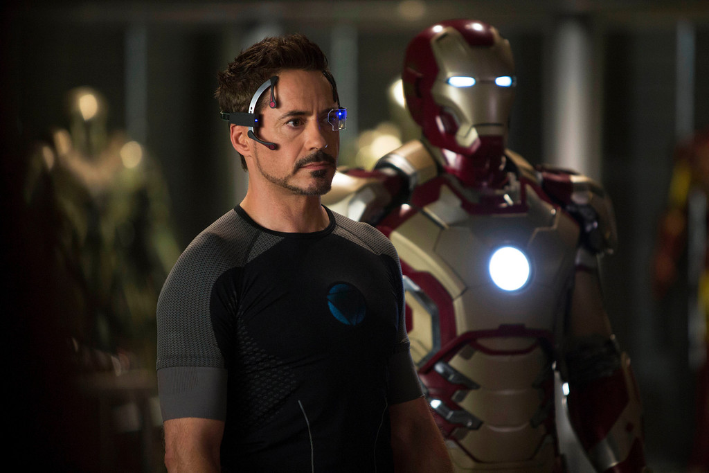 """. This  publicity image released by Marvel shows Robert Downey Jr., as Tony Stark/Iron Man, in a scene from \""""Marvel\'s Iron Man 3.\""""  \""""Marvel\'s Iron Man 3\"""" was one of several upcoming films to receive spotlight treatment with an ad that aired during Super Bowl XLVII on Sunday, Feb. 3, 2013. (AP Photo/Marvel, Zade Rosenthal)"""