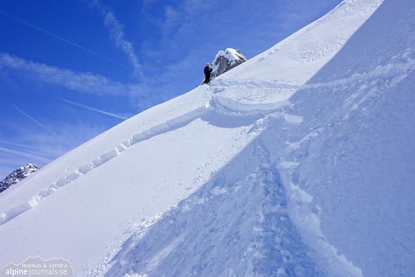 Weisser Schrofen ski tour with climbing in spring, Baad, Kleinwalsertal