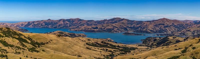 Blick vom «Otepatotu Point» auf die Bucht der «Banks Peninsula»